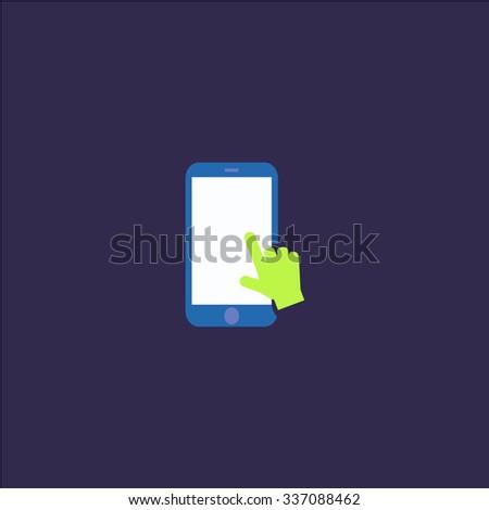 Hand slide smartphone. Icon Vector. Icon Picture. Icon Graphic. Icon Art. Icon JPG. Icon JPEG. Icon EPS. Icon AI. Icon FLAT. Icon SIMPLE - stock vector
