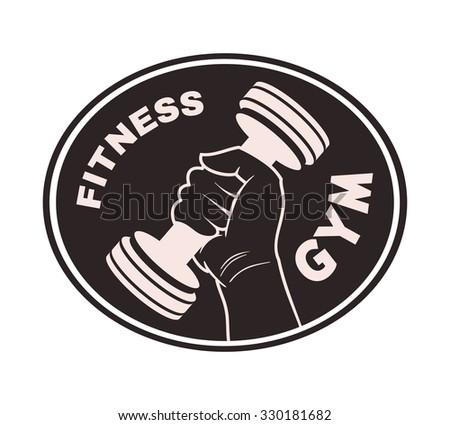 hand sport gym label - stock vector