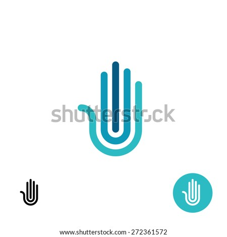 Hand stylized line logo. Black and white variations included. - stock vector