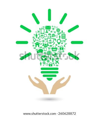 hand support lightbulb social media green concept - stock vector