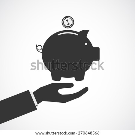 hand support piggy bank concept business background - stock vector