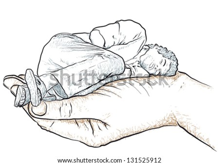 Hand supporting a man - stock vector