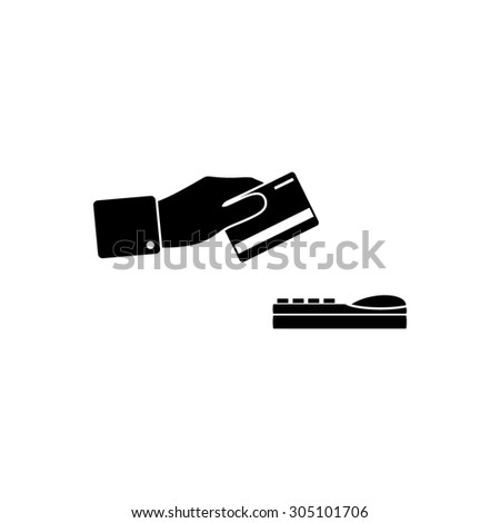 Hand swiping a credit card. Black simple vector icon - stock vector