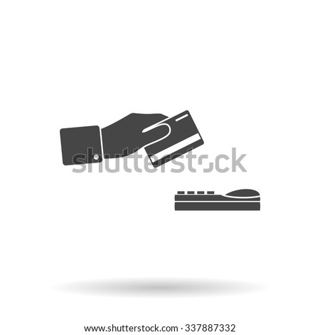 Hand swiping a credit card. Icon Vector - stock vector