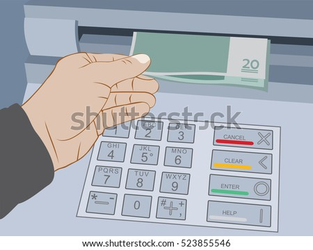 Hand take cash out from ATM bank cash machine. Withdrawal money on ATM bank cash machine. Flat vector illustration