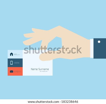 Hand taking business card