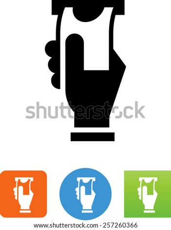 Hand taking money from a slot. Symbol for download. Vector icons for video, mobile apps, Web sites and print projects.  - stock vector