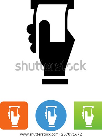 Hand taking paper from a slot. Symbol for download. Vector icons for video, mobile apps, Web sites and print projects.  - stock vector