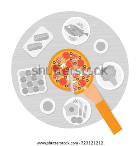 Hand taking slice of pizza from the table. Choice in restaurant. Flat design vector illustration in grey color. - stock vector