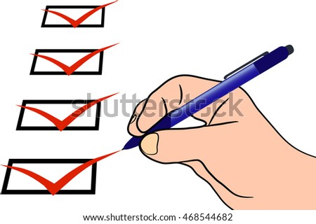 Hand the checklist and a pen, filling out the questionnaire
