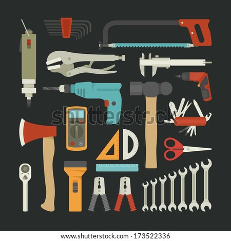 Hand tools icon set , flat design , eps10 vector format - stock vector