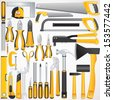 Hand Tools Kit. Set Include Fastening, Finishing, Layout, Striking ,Cutting Tools and Measuring Tools. - stock vector