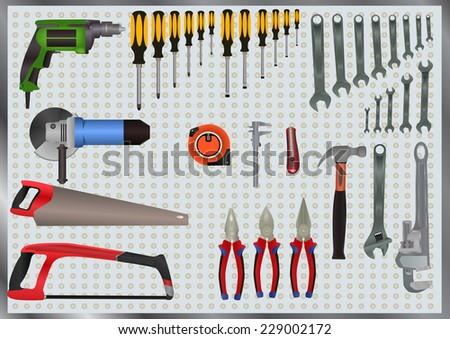 Hand Tools Set - stock vector