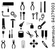 Hand tools - set of vector icons. Isolated symbols on white background. - stock photo