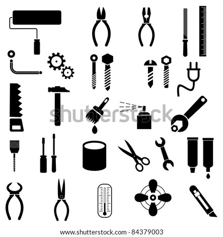 Hand tools - set of vector icons. Isolated symbols on white background. - stock vector