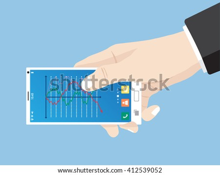 Hand touch finance graph for business concept on mobile phone interface, Vector Illustration EPS 10. - stock vector