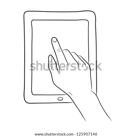 hand touch screen on tablet pc - stock vector
