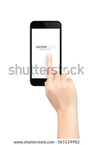 Hand touch screen smart phone isolated on white background. Vector illustration.