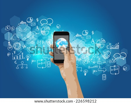 hand touch social media,social network concept.  - stock vector