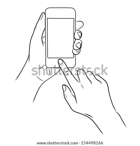 hand touch the home button on Smart Phone
