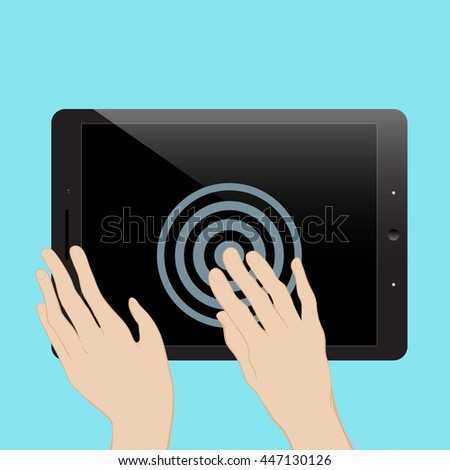 Hand touching blank black screen of tablet computer. Using digital touchscreen, wireless technology, design concept. Stylish vector illustration isolated on blue can be used as a mockup. - stock vector