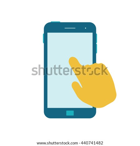 Hand touching blank screen. Mobile Phone flat icon. Vector illustration. Isolated on a white background. - stock vector