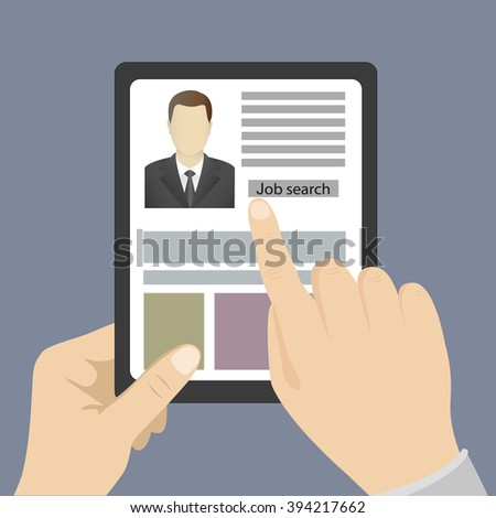 Hand touching blank screen of tablet computer,job search, Eps 10 vector illustration, flat design - stock vector
