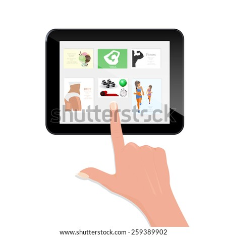 Hand touching blank screen of tablet computer. Using digital tablet pc - stock vector