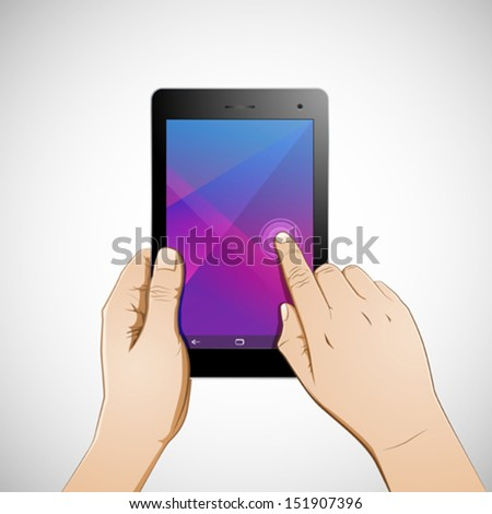 Hand touching 7 inch tablet - stock vector