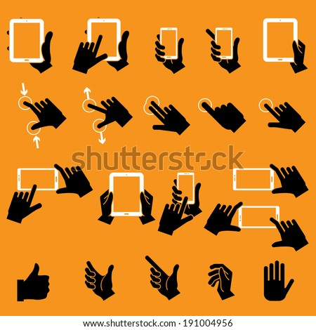 Hand Touching Mobile Phone and Digital Tablet,vector EPS10
