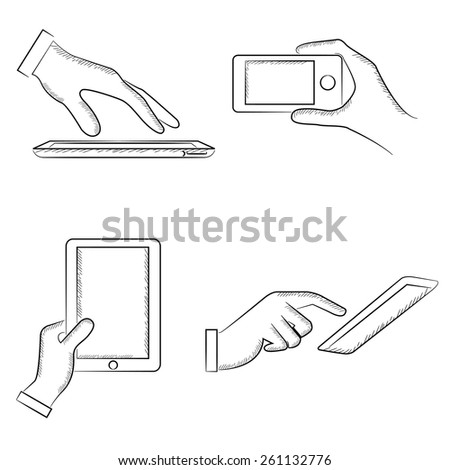 hand touching on smart device, smart phone, sketch hand gestures  - stock vector