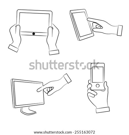 hand touching on tablet, holding phone, sketch hand sign