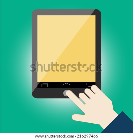 Hand touching screen tablet vector - stock vector
