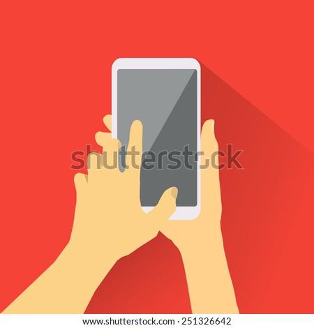 Hand touching smart-phone. - stock vector