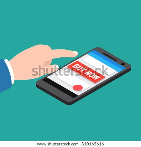 Hand touching smart phone with buy now button. 3D Isometric vector illustration