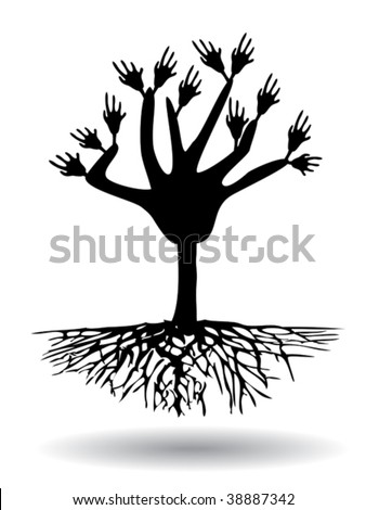 hand tree with root - stock vector