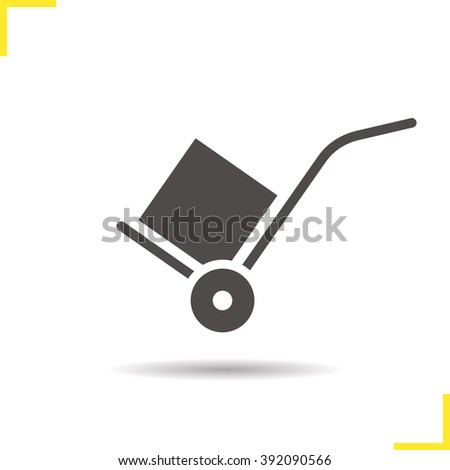 Hand truck icon. Drop shadow delivery silhouette symbol. Delivery equipment. Baggage transportation. Hand truck logo concept. Vector dolly transportation cart with box isolated illustration - stock vector