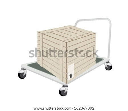 Hand Truck or Dolly Loading A Wooden Crate or Cargo Box Isolated on White Background, Ready for Shipping or Delivery.   - stock vector