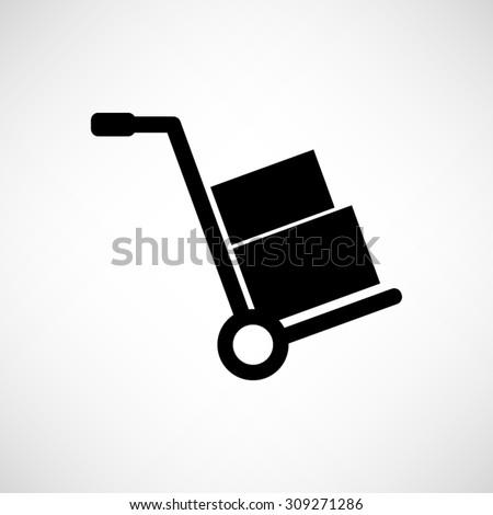 Hand truck  - vector icon - stock vector