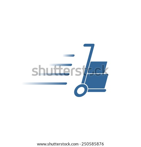 Hand truck with cardboard boxes silhouette - stock vector