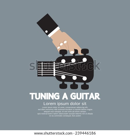 Hand Tuning a Guitar Vector Illustration - stock vector