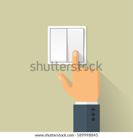 Hand Turning On Light Switch Stock Vector 589998845