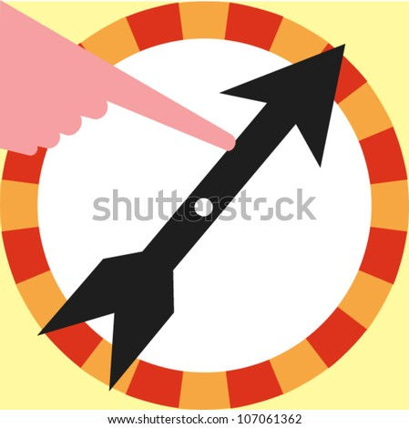 Hand turning the dial of a game board spinning wheel - stock vector