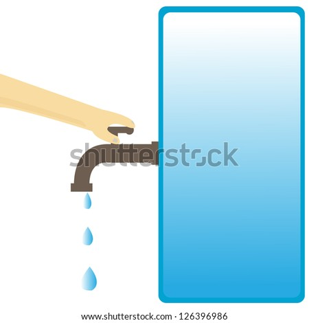 hand turns off the water cock - stock vector