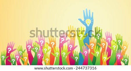Hand up. Question and Answers concept - stock vector