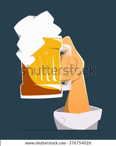 Hand up with big mug, glasses of light golden beer. Color vector illustration. Isolated
