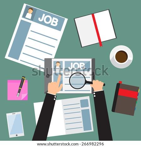 hand using tablet find new job, job application, flat design vector illustration. - stock vector