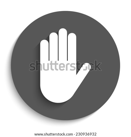 Hand  - vector icon with shadow on a round grey button - stock vector