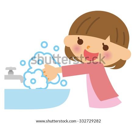 Hand wash child - stock vector
