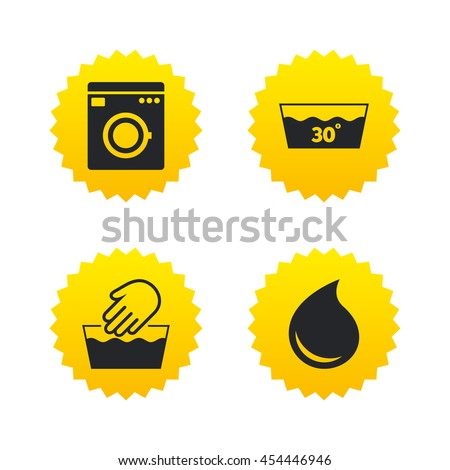 Hand wash icon. Machine washable at 30 degrees symbols. Laundry washhouse and water drop signs. Yellow stars labels with flat icons. Vector - stock vector